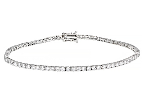 White Cubic Zirconia Rhodium Over Sterling Silver Anklet 14.04ctw
