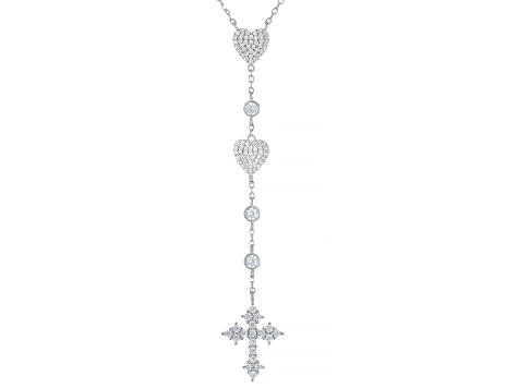 White Cubic Zirconia Rhodium Over Sterling Silver Heart And Cross Necklace 1.62ctw