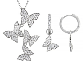 White Cubic Zirconia Rhodium Over Silver Butterfly Necklace And Earrings Set 2.55ctw