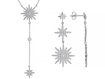Picture of White Cubic Zirconia Rhodium Over Sterling Silver Necklace and Earrings Set 6.69ctw
