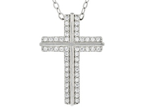 White Cubic Zirconia Rhodium Over Sterling Silver Cross Pendant With Chain 0.48ctw