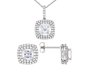White Cubic Ziroconia Rhodium Over Sterling Silver Earrings And Pendant With Chain 12.10cw