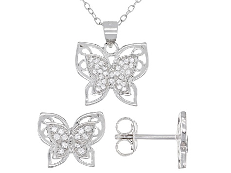 White Cubic Zirconia Rhodium Over Sterling Silver Butterfly Earrings And Pendant With Chain