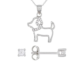 White Cubic Zirconia 0.50ctw Rhodium Over Sterling Silver Stud Earrings And Dog Pendant With Chain