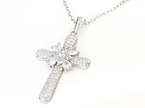 White Cubic Zirconia Rhodium Over Sterling Silver Cross Pendant With Chain 2.00ctw