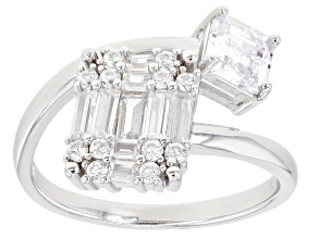 White Cubic Zirconia 3.40ctw Rhodium Over Sterling Silver Ring
