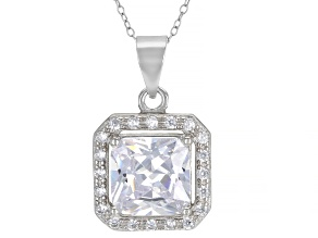 Cubic Zirconia Rhodium Over Sterling Silver Pendant With Chain 4.42ctw