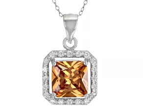 Champagne And White Cubic Zirconia Rhodium Over Sterling Silver Pendant With Chain 4.42ctw