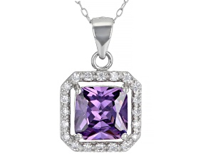 Purple And White Cubic Zirconia Rhodium Over Sterling Silver Pendant With Chain 4.42ctw
