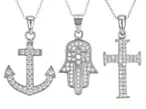 Cubic Zirconia Rhodium Over Silver Hasma, Anchor, And Cross Pendants With Chains- Set of 3 1.86ctw