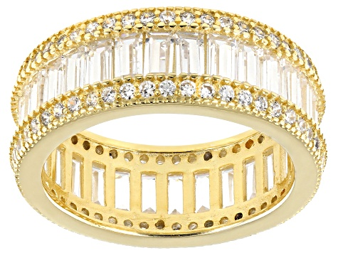 White Cubic Zirconia 18k Yellow Gold Over Sterling Silver Band