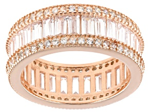 White Cubic Zirconia 18K Rose Gold Over Sterling Silver Band