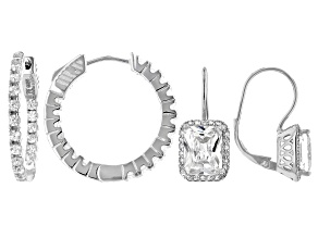 White Cubic Zirconia Rhodium Over Sterling Silver Hoop And Drop Earrings- Set of 2 6.76ctw
