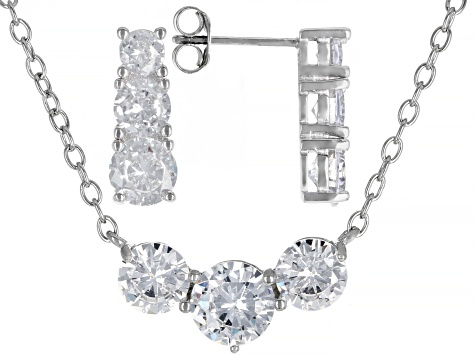 White Cubic Zirconia Rhodium Over Sterling Silver Earrings And Necklace Set 10.00ctw