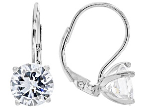 White Cubic Zirconia Rhodium Over Sterling Silver Earrings 7.40ctw