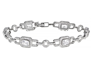 White Cubic Zirconia Rhodium Over Sterling Silver Bracelet 9.30ctw