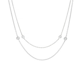 White Cubic Zirconia Rhodium Over Sterling Silver Necklace 3.68ctw