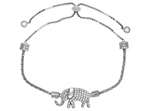 White Cubic Zirconia Rhodium Over Sterling Silver Elephant Adjustable Bracelet 1.69ctw