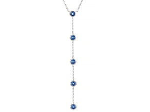 Blue Cubic Zirconia Rhodium Over Sterling Silver Necklace 2.15ctw