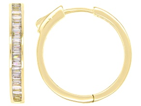 White Cubic Zirconia 18k Yellow Gold Over Sterling Silver Inside Out Hoop Earrings 3.36ctw