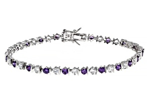 Purple And White Cubic Zirconia Rhodium Over Sterling Silver Bracelet 2.50ctw