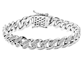 White Cubic Zirconia Rhodium Over Sterling Silver Curb Chain Men's Bracelet 1.28ctw