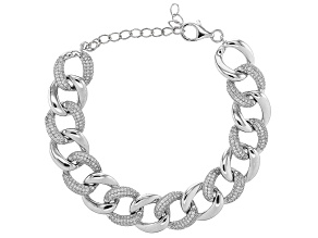 White Cubic Zirconia Rhodium Over Sterling Silver Curb Chain Bracelet 1.10ctw