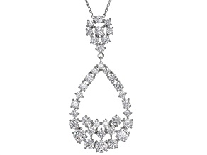 White Cubic Zironia Rhodium Over Sterling Silver Pendant With Chain 7.17ctw