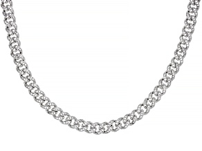 White Cubic Zirconia Rhodium Over Sterling Silver Cuban Chain Necklace 4.47ctw
