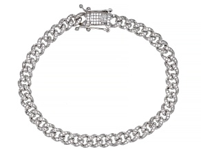 White Cubic Zirconia Rhodium Over Sterling Silver Cuban Chain Bracelet 1.62ctw