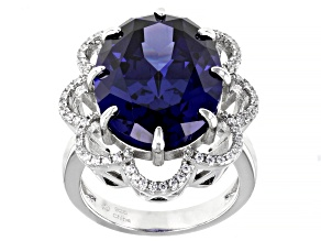 Blue and White Cubic Zirconia Rhodium Over Sterling Silver Ring 15.50ctw