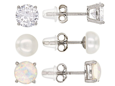 Cultured White Pearl, Lab Opal, And Cubic Zirconia Rhodium Over Silver Earrings- Set of 3 6.00ctw