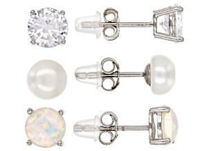 White Cultured Freshwater Pearl, Lab Opal, And Cubic Zirconia Rhodium Over Silver Earrings 6.00ctw