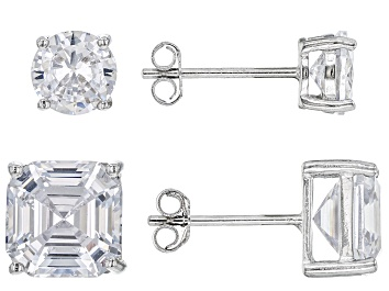 Picture of Asscher Cut White Cubic Zirconia Rhodium Over Sterling Silver Earrings- Set of 2 4.25ctw