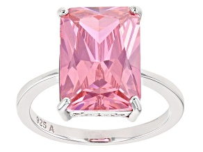 Pink Cubic Zirconia Rhodium Over Sterling Silver Ring 12.25ctw