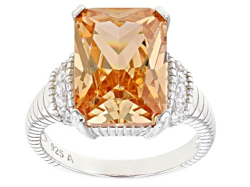 Picture of Champagne And White Cubic Zirconia Rhodium Over Sterling Silver Ring 12.45ctw