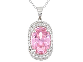 Pink And White Cubic Zirconia Rhodium Over Sterling Silver Pendant With Chain 10.17ctw