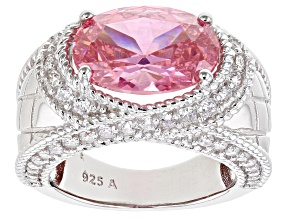 Pink And White Cubic Zirconia Rhodium Over Sterling Silver Ring 9.45ctw