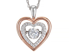 Cubic Zirconia Rhodium Over Sterling Silver Dancing Heart Pendant With Chain 1.41 ctw