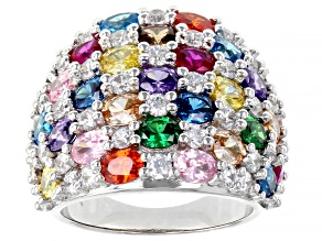 Multicolor Cubic Zirconia Rhodium Over Sterling Silver Ring 10.99ctw