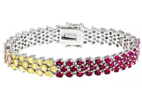 Multicolor Cubic Zirconia Rhodium Over Sterling Silver Bracelet 26.67ctw