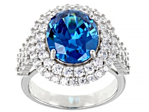 Blue And White Cubic Zirconia Rhodium Over Sterling Silver Ring 10.87ctw