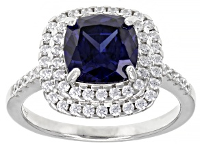 Blue And White Cubic Zirconia Rhodium Over Sterling Silver Ring 3.00ctw