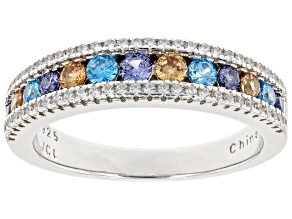 Multicolor Cubic Zirconia Rhodium Over Sterling Silver Ring 2.95ctw