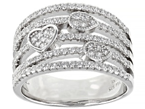 White Cubic Zirconia Rhodium Over Sterling Silver Ring 1.10ctw
