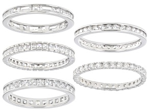 White Cubic Zirconia Rhodium Over Sterling Silver Eternity Band Rings- Set of 5 6.80ctw