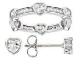 White Cubic Zirconia Rhodium Over Sterling Silver Heart Ring And Stud Earrings Set 2.75ctw