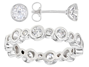 White Cubic Zirconia Rhodium Over Sterling Silver Ring And Stud Earrings Set 3.88ctw