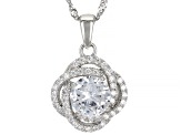 White Cubic Zirconia Rhodium Over Sterling Silver Pendant With Chain 2.19ctw