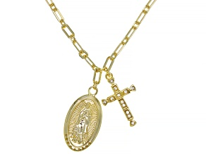White Cubic Zirconia 18k Yellow Gold Over Sterling Silver Our Lady Of Guadalupe Necklace 0.12ctw